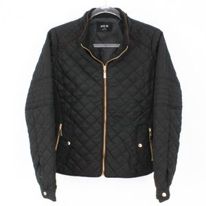 Jackets & Blazers - Black Quilted Suede Piping Jacket